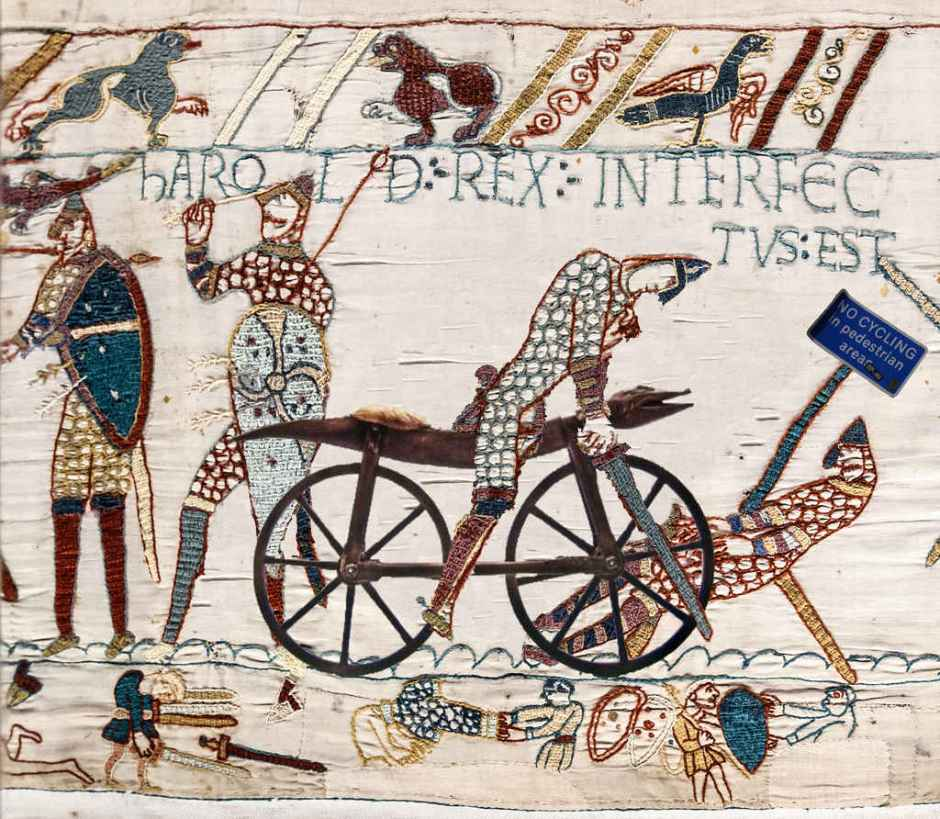 Hastings, 10066 AD - Norman soldier on a bike, Bayeux Tapestry