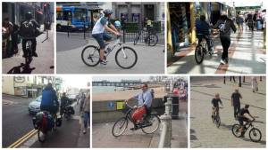 A postcard of people breaking the law on bikes in Hastings.