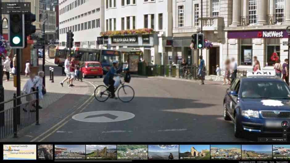 Cyclist misusing the pedestrian zone in Hastings