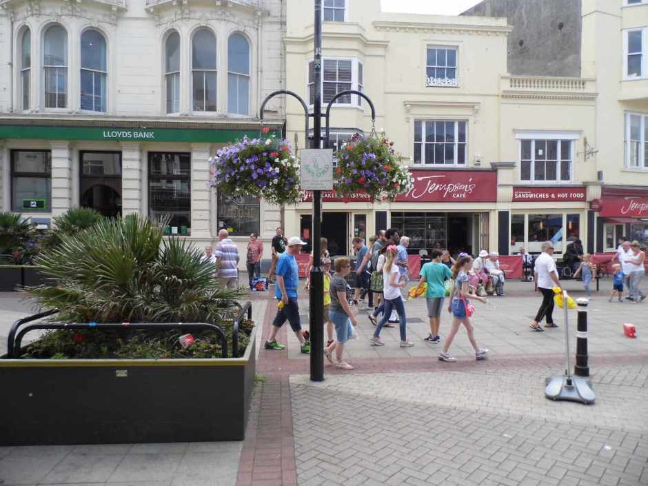 A photo of where a no-cycling-sign used to be, outside Millets, Hastings.