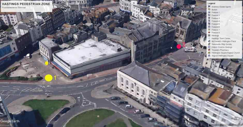 Aerial shot of Hastings - Poundstretcher to Town Hall
