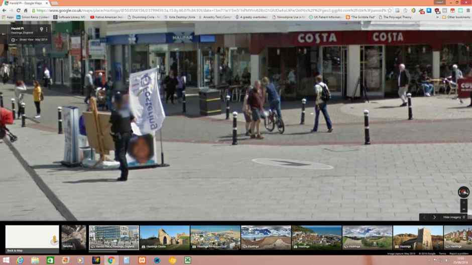 A google maps screenshot of boys cycling outside Costa, Hastings.