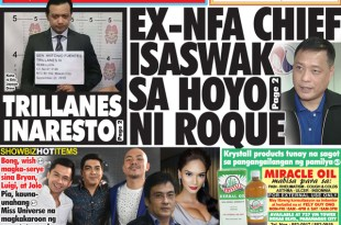 Hataw Frontpage Ex-NFA chief isaswak sa hoyo ni Roque