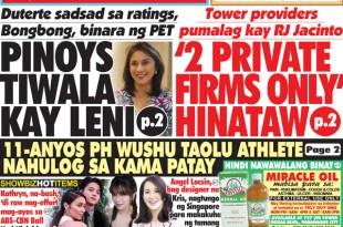 Hataw Frontpage PINOYS TIWALA KAY LENI, 2 PRIVATE FIRMS ONLY HINATAW