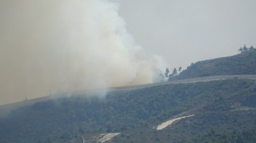 Suriye sınırının sıfır noktasında orman yangını