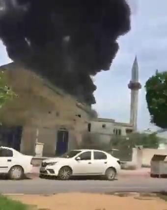 Hatay'da kaynak çalışması yapılan camide yangın çıktı
