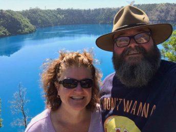 David and Megan at Blue Lake, Mount Gambier