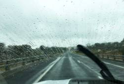 Raindrops and wipers on