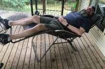 David having a snooze in the Oztrail Sun Lounge Jumbo Chair