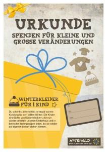 Urkunde 2016 Winterkleider für 1 Kind