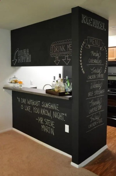 Accent Wall Chalk Paint Wall Bar Kitchen Window Dinner Menu Drink Menu