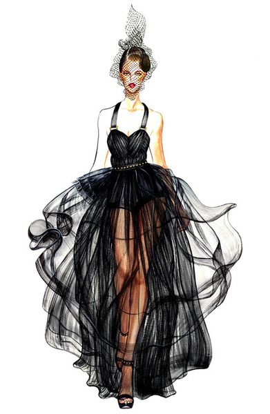 30  Cool Fashion Sketches   Hative Black Dress Fashion