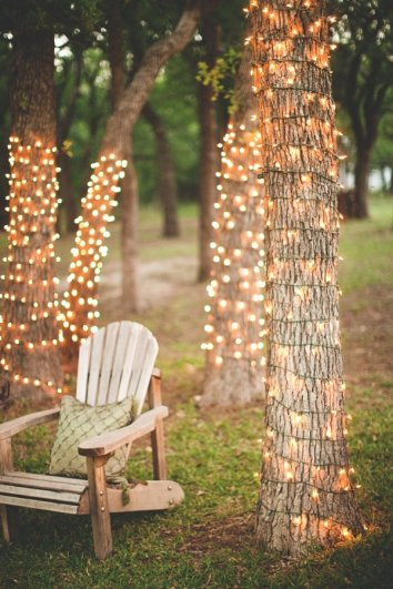 Patio Ideas String Lights Tree Christmas Lights In Tree Wood Chair Throw Pillow Backyard Lighting