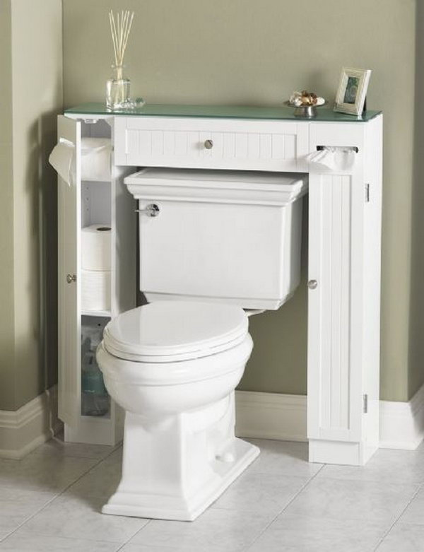 This surround toilet cabinet takes up less space than your regular cabinet and keeps everything organized in your bathroom.