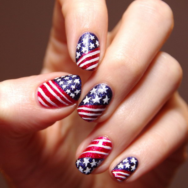 Patriotic Glitter Stars And Stripes Nail Art Go With The Clic Patterns But Use