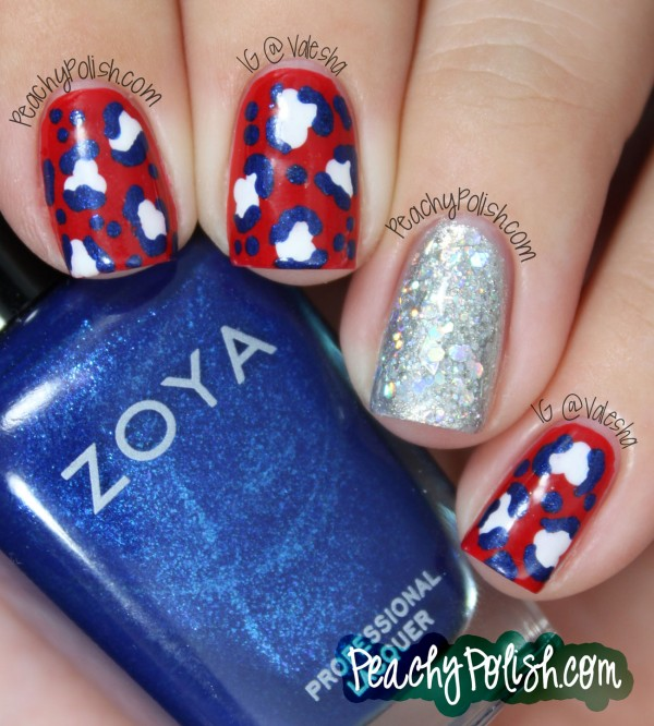 Red White And Blue Leopard Print With A Sparkly Accent Nail I Love