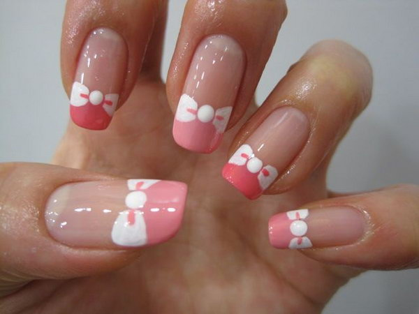 Pink Tips And White Bow Tie Nails
