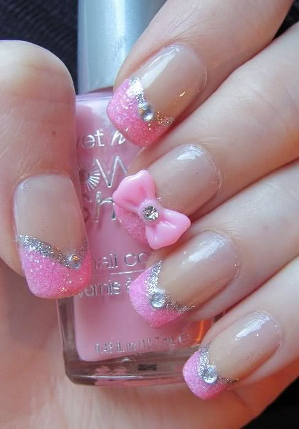 Pretty Pink Nail Design With Glitter Rhinestones And A Bow