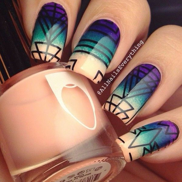 Matte Purple And Abstract Nail Art Design Idea
