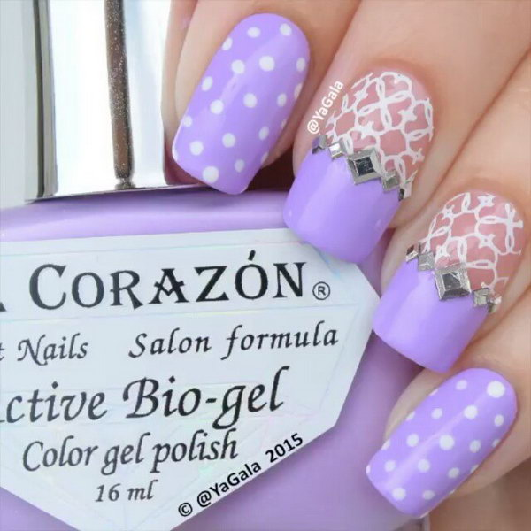 Feminine Lace And Dots Purple Nail Art