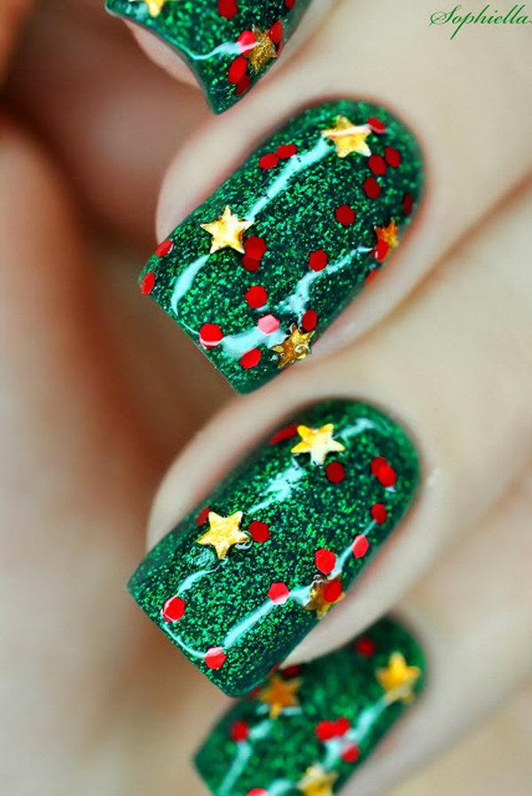Glitter Green Christmas Nail Art With Gold Stars
