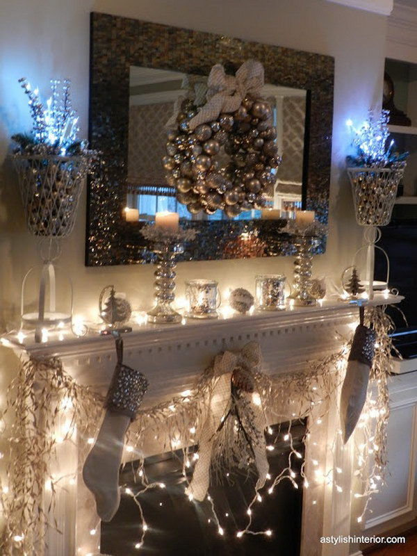 25  Gorgeous Christmas Mantel Decoration Ideas   Tutorials   Hative Stylish Gold and Silver Christmas Mantel