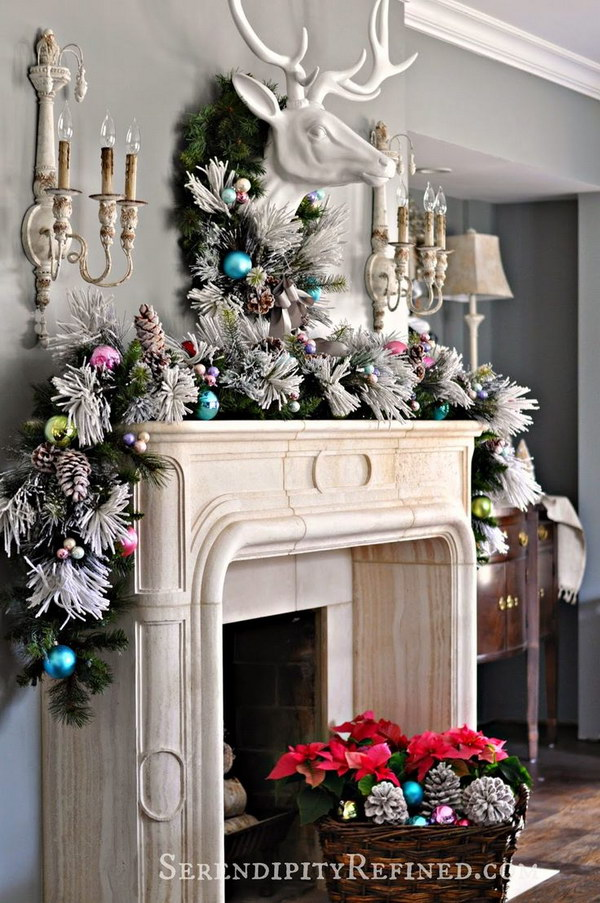25  Gorgeous Christmas Mantel Decoration Ideas   Tutorials   Hative Elegant Christmas Mantel Decoration with Thick  Full Garland