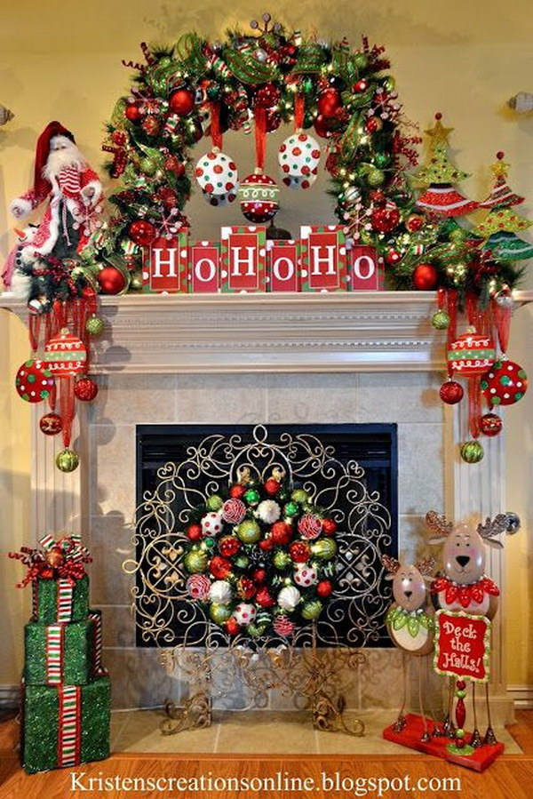 Christmas Mantel Decorations Interior Decorate Fireplace Ideas About