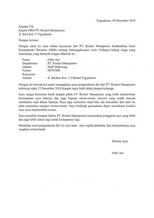Contoh Surat Berhenti Kerja Karena Alasan Tempat Tinggal Dan