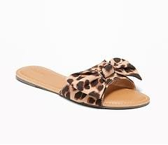 Sueded Bow-Tie Slide Sandals for Women - Big Leopard