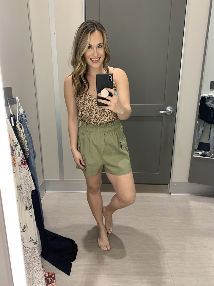 Target Finds: This leopard print tank top is on sale and it under $15! This cute animal print top can be dressed up or down! Paired it with the cutest green shorts. These shorts are so fun, make me want to go on safari. Wearing a size medium in the shirt and shorts! Target Style, Target Outfit, Spring Style, Target Fashion, Spring Outfit at target, Spring fashion at target, casual outfit, spring outfit, short outfit, summer outfit, pull on shorts