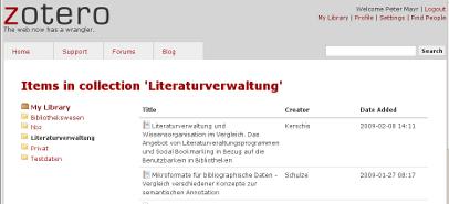 Bibliothek auf zotero.org