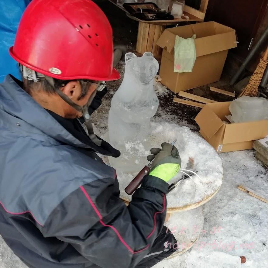 軽井沢 白糸の滝 氷 リス