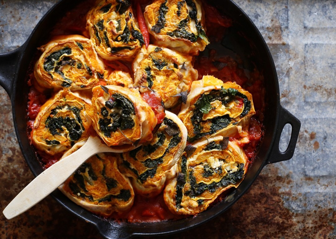 Kürbis Spinat Rotolos Pasta Rezept Frei Nach Jamie Oliver