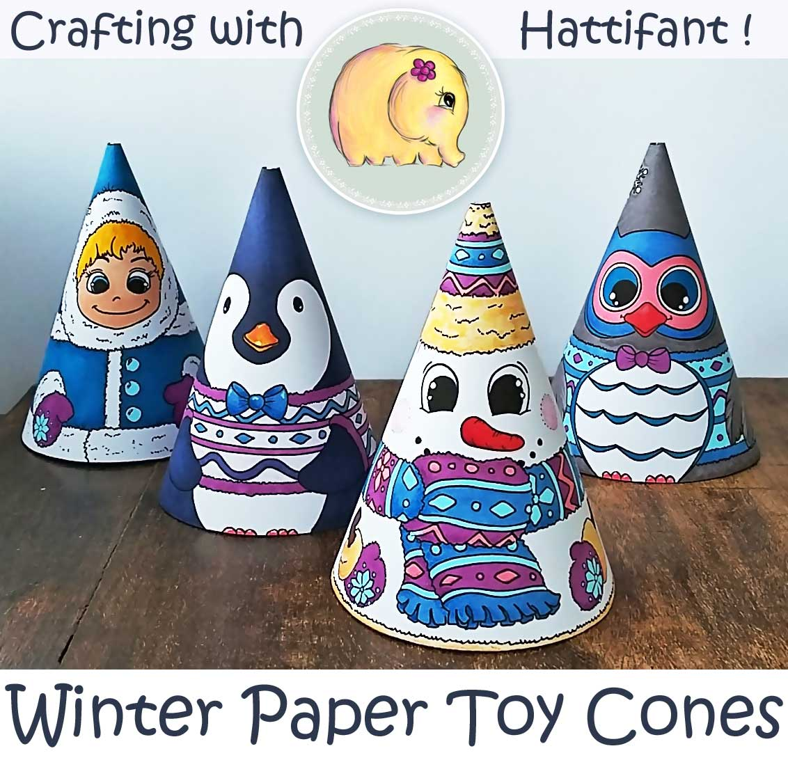 Winter Paper Toy Cones