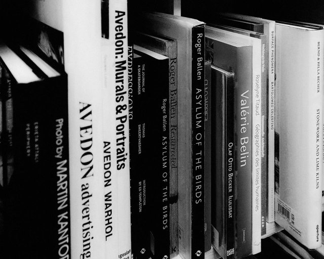 photography books in a shelf