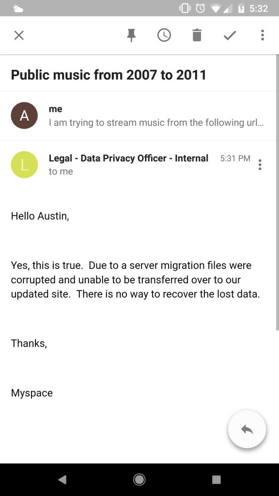 MySpace, Social Media, Data Loss, Deleted Music, Lost Music