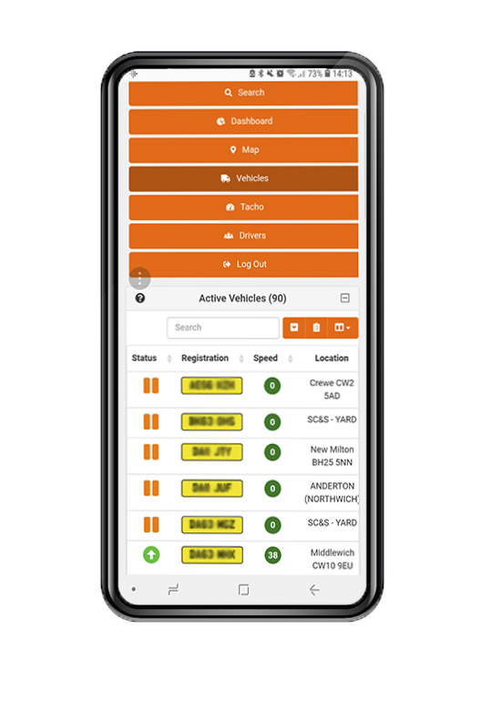 HaulTech TrakMan vehicle tracking displayed on a mobile device