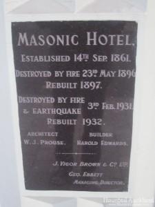 The Masonic Hotel cornerstone