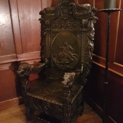 A chair that, when photographed numerous times by tourists, has shown dark (sometimes white) smears on the the seat that didnt make sense.