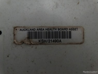 Kingseat Hospital Morgue - Label (Auckland Area Health Board Asset Number)