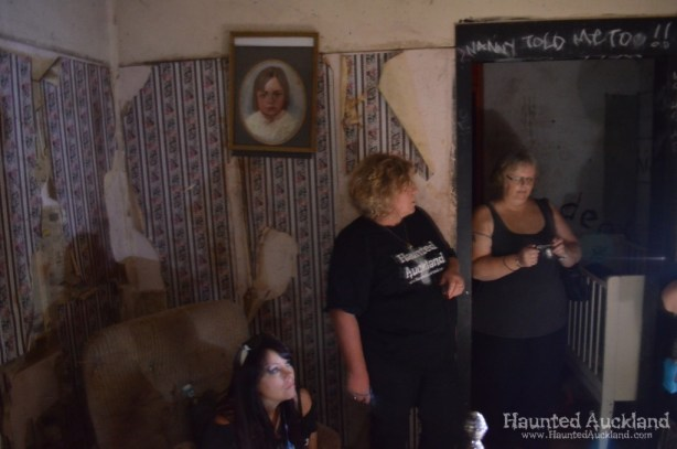 "Karen, Barbara and Heather investigate the ""Child's Bedroom"" - Spookers, Kingseat"