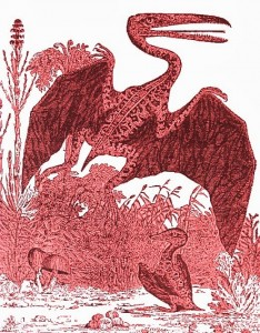Pterosaur, red engraving