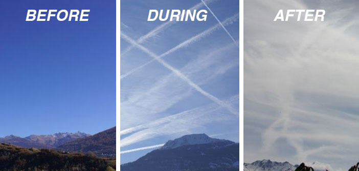 Image purporting to show the effect of chemtrails
