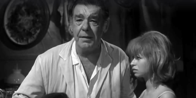 """A screen shot taken from the 1968 horror film """"Spider Baby'. It shows Lon Cheney Jr. as Bruno, alongside Beverly Washburn, who plays Elizabeth.  The Way Back Machine: Spider Baby (1968)"""
