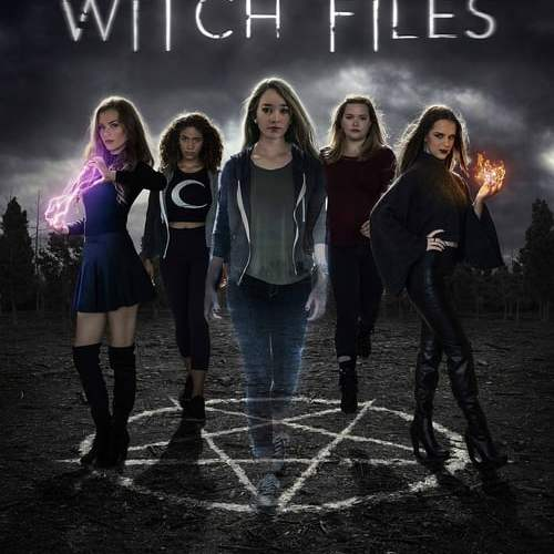The five main characters stand on top of a pentagram.