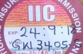 NIC stopped old motor insurance stickers