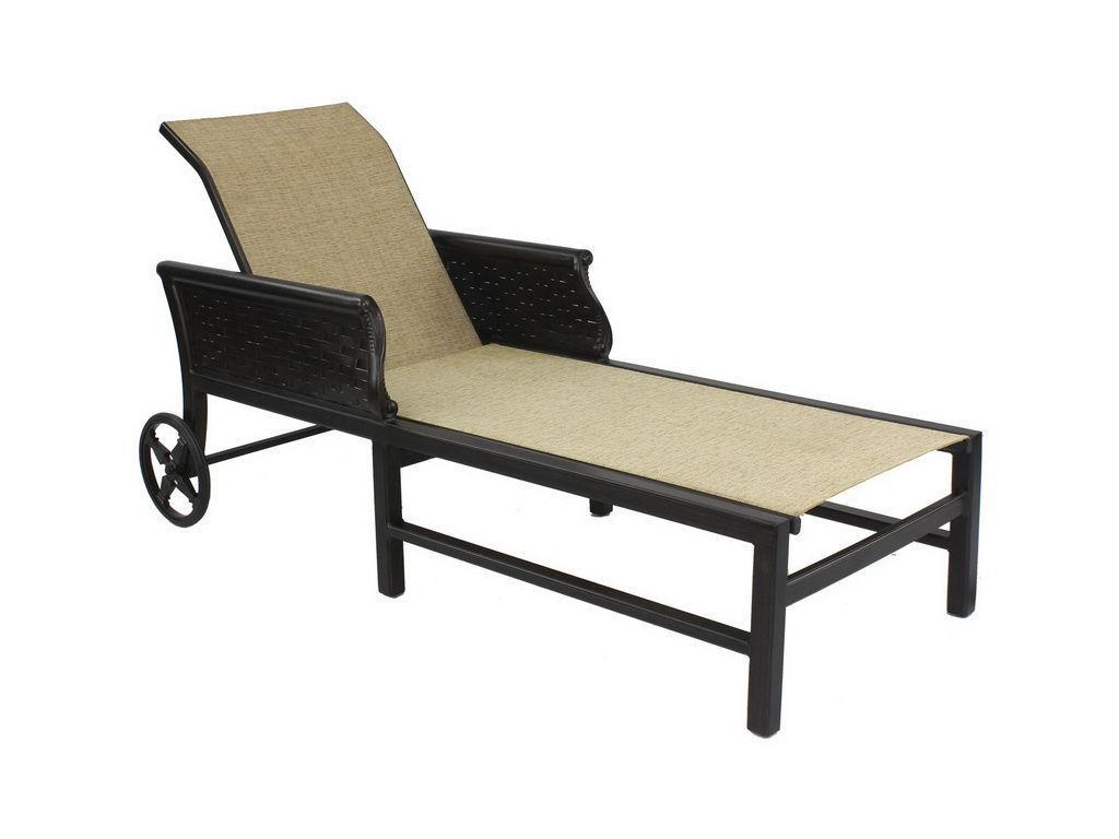 English Garden Sling Adjustable Chaise Lounge W/Wheels