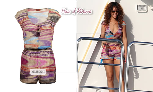 Rihanna in Missoni knitted playsuit