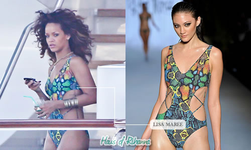 Rihanna in a Lisa Maree monokini swimsuit